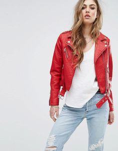 Buy it now. Pimkie Multi Zip Cropped Biker Jacket - Red. Biker jacket by Pimkie, Lined faux leather, Studded lapels, Asymmetric zip fastening, Zipped cuffs, Functional pockets, Belted hem, Regular fit - true to size, Machine wash, 41% Polyurethane, 37% Polyester, 22% Viscose, Our model wears a UK S/EU S/US S and is 168cm/5'6 tall. ABOUT PIMKIE In 1971, French label Pimkie brought three textiles specialists together to create empowering collections that encourage women to express themselves…
