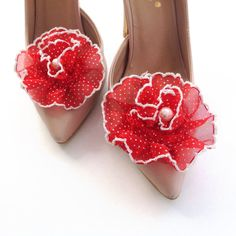 Red Shoe Clips shoe flowers bridesmaid gift wedding by BridalLife