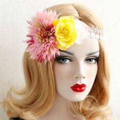 AWAYTR Flower Wreath Woman Girls Floral Crown Tiaras Headband Boho Red Rose Flower Bride Hairbands Party Hair Accessories