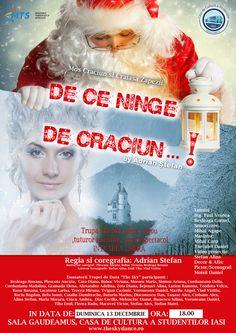 """Spectacol extraordinar de dans """"De ce ninge de Craciun…!"""" de Adrian Stefan   IasiFun - site-ul tau de timp liber! Liberia, Student, Sky, Movies, Movie Posters, Heaven, Films, Heavens, Film Poster"""