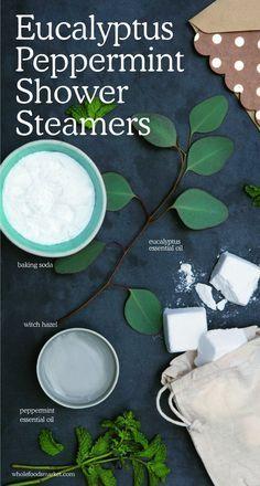Eucalyptus Peppermint Shower Steamers | Natural Beauty DIY | Holistic Cosmetics | Eucalyptus Essential Oil, Baking Soda, Witch Hazel, Peppermint Essential Oil