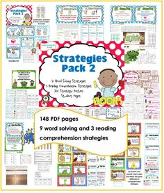 Reading Strategies Pack #2 50% off through Feb. 14, 2014 $3 Word Solving and Reading Comprehension Strategies PACK 2 1/2 price through 2-14-2013 This PDF has 148 pages of word solving and reading comprehension strategies for grades one and two. Nine word solving strategies and three reading comprehension strategies are covered with teaching posters, student work pages, activities, and pocket chart cards. Posters for all 20 strategies are included.