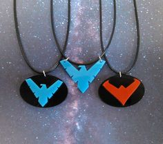 Nightwing logo pendant necklace red blue acrylic bird emblem new 52 (4) by FoxyFunk on Etsy