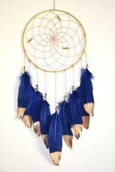 Dreamcatcher, Large Dream Catcher, Navy Blue Nursery Decor, Gold Bedroom Wall Decor