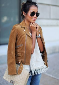 The Kooples perfect leather moto jacket seen on Sincerely jules Boho Fashion, Fashion Looks, Womens Fashion, Runway Fashion, Fashion Jewelry, Fashion Trends, Spring Summer Fashion, Autumn Winter Fashion, Spring Style