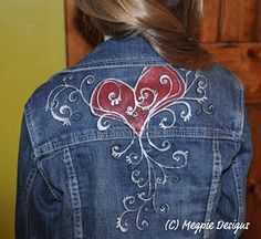 Painted denim jacket/ this would also be cute with fabric remnant inserts/ appliques