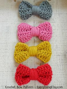 Crochet Bow Pattern - great for hair clips or any accessory - EverythingEtsy.com
