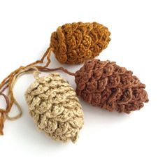 Pine Cone Decorations, Fir Cones, Twig Tree Decorations, Christmas Ornaments, chocolate, golden brown, cream, russet