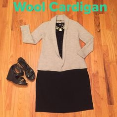 """Wool Cardigan  Light Gray This is a go with everything cardigan!!!  Great condition. Nice simple design on back. Plz Note:  Size says medium but fits like EXTRA SMALL!!!  Shoulder to hem 21"""", bust area 14"""". Priced to sell. Bundle and save $$$ Vertical Design Sweaters Cardigans"""