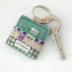 keyring - sewing keyring - gift for sewers - cotton spool keyring Paisley Fabric, Fabric Art, Felt Keyring, Keychains, Sewing Crafts, Sewing Projects, Stocking Fillers, Key Fobs, Felt Crafts