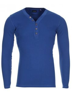 Look casual with this plain Y neck T shirt featuring long sleeves and wooden button details on the neckline, T Shirt Vest, Neck T Shirt, Go Blue, Casual Looks, Indigo, Stylish, Long Sleeve, Sleeves, Mens Tops