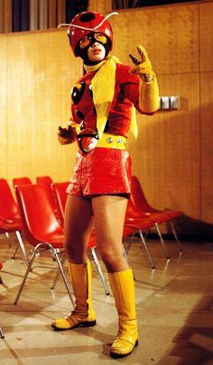 Ladybug Girl, all growed up. Rider Strong, Ladybug Girl, Robot Cartoon, Japanese Superheroes, Kamen Rider Series, Space Girl, Retro Futurism, Godzilla, Pop Culture