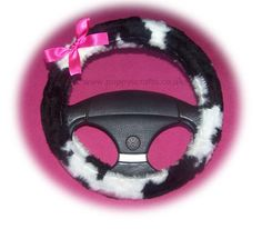 Black and white Cow print faux fur fuzzy car steering wheel cover with barbie pink satin bow Diy For Men, Diy For Girls, Fuzzy Steering Wheel Cover, Steering Wheels, Sheepskin Car Seat Covers, White Cow, Car Accessories For Girls, Cow Print, Pink Satin