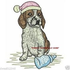 NIGHTY, NIGHT PUPPY DOG - 2 EMBROIDERED HAND TOWELS by Susan