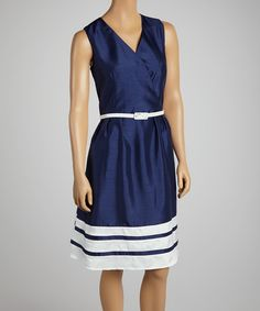 Blue & White Stripe Belted Surplice Dress   something special every day