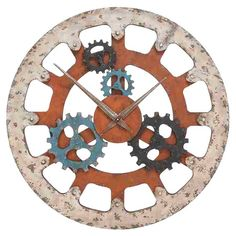 "Weathered wood and quartz wall clock with an industrial gear motif.   Product: ClockConstruction Material: WoodColor: MultiAccommodates: Batteries - not includedDimensions: 36"" Diameter x 2"" D"