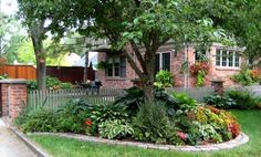 LANDSCAPE AROUND A SINGLE TREE. This is gorgeous...a tree (just imagine it for a sec w/o the plants at its feet) that has been transformed by a variety of flowering and non-flowering plants, all of which appear to enjoy shade. The brick border, too, creates a defined space, giving it a prominent focus in the yard.