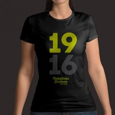 Ladies 1916 Typography T-Shirt Design Navy Shirt Designs, Typography, T Shirts For Women, Navy, Tops, Black, Fashion, Letterpress, Hale Navy
