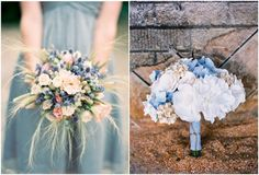 You may think it's tough to put together a blue bouquet - take a look at these! Blue-gray bridesmaids bouquet, blue and wheat bouquet, antique and blue hydrangea bouquet.