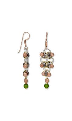 Jewelry Design - Earrings with Cool Frost Resin Beads™, Copper-Plated Brass Crimp Covers and Chainmaille - Fire Mountain Gems and Beads