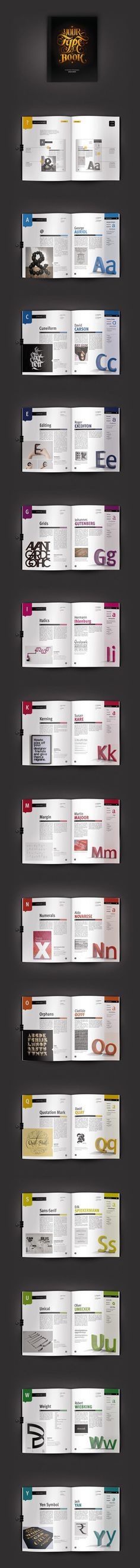 """""""Your Type of Book"""" is an alphabet of typography produced and designed for a typographic assignment. - By Aurelie Maron"""
