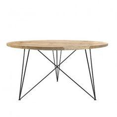 Round Oak & Steel Table