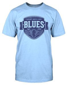 A t-shirt perfect for those Blues fans who want to wear something a little different to the usual rugby shirt. This tee will look as good at the Arms Park as it will in one of Cardiff's many pubs.   www.dumpTackle.com/vintage-blues
