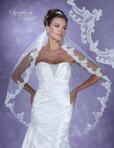 Bella Mera Bridal Boutique - Symphony Bridal Veil - Style 6119VL -Lace Embroidered Edge Veil,  (http://www.bellamerabridal.com/symphony-bridal-veil-style-6119vl-lace-embroidered-edge-veil/)