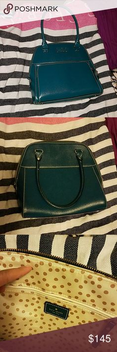 *SALE* Kate Spade Domed Purse - Hunter Green EUC Kate Spade Domed Purse. Only signs of wear are on strap (see 4th picture). Dark hunter green exterior with gold dotted ivory colored interior. kate spade Bags