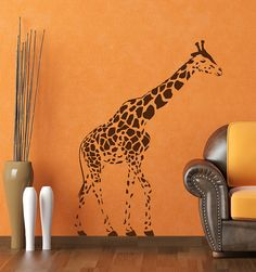 GIRAFFE Wall Decal African Decor 36W x 50H by Stickitthere on Etsy, $60.00