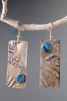 Reticulated silver and opal earrings by Patricia Reinking