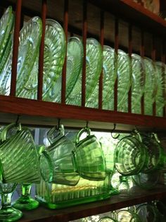 My Fave Green Sandwich Glass + Depression Glass + Antique + Pressed.have tons and LOVE IT.from my granny. Cut Glass, Glass Art, Regal Design, Antique Glassware, Fenton Glassware, Irish Cottage, Vaseline Glass, Vintage Dishes, World Of Color