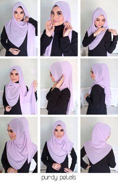 Hijab Tutorials With Niqab Square Hijab Tutorial, Hijab Style Tutorial, Stylish Hijab, Hijab Casual, Hijab Gown, Hijab Outfit, Hijab Niqab, Islamic Fashion, Muslim Fashion