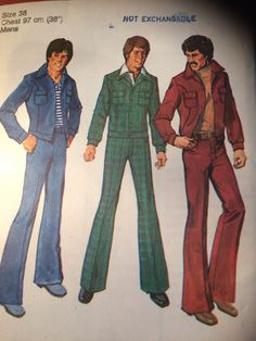 is a leisure suit from the The leisure suit was popular for men and women. during the day people wore these outfits in corduroy, velvet, tweed, and knitted fabrics. also they had wide lapels and were purchased ready-to-wear. Simplicity Sewing Patterns, Vintage Sewing Patterns, Paper Patterns, 70s Fashion Men, 70s Mode, Jacket Pattern, Flare Pants, Vintage Men, Types Of Shirts