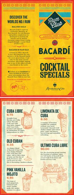 Cuban Rum Club Graphic Design Cocktail Menu. Typography, Illustration & Design by www.diagramdesign.co.uk