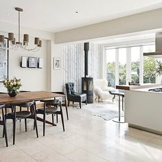 Dreaming of an open-plan kitchen? Stretch your kitchen space by going for an open-plan kitchen diner scheme that is great for family kitchens Open Plan Kitchen Living Room, Kitchen Family Rooms, Open Plan Living, Cosy Kitchen, Space Kitchen, Kitchen Drawers, Kitchen Modern, Kitchen Paint, Kitchen Island