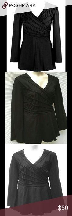 "New eShakti top in black, fit and flare, plus size Unique statement tunic by eShakti NWOT. Long sleeves, V-neck with crossover look, size zipper, skirted hem, and black on black cording detail wraps your torso for a figure flattering silhouette. Measures 48"" at bust, 44"" waist, 32"" long from shoulder to hem. Tag cut out by previous posher, tried on but never worn. Warm cotton spandex blend with a knit feel. Size tag says 3X/24W. eshakti Tops Tunics"
