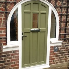 Ideas For Exterior Paint Colours For House Green Olive Front Porches Exterior House Colors Combinations, Exterior Paint Colors For House, Paint Colors For Home, Paint Colours, Porch Doors, Exterior Front Doors, Entry Doors, House Doors, Yellow Front Doors