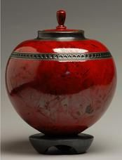 round orb red raku urn