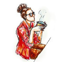 This is probably my favourite doodle this year so far. Just the nose the #glasses and the tea of course. . . . #art #artoftheday #instaart #instaartist #instadraw #cafe #instadoodle #instasketch #tea #artstagram #artist #fabercastell #artistoninstagram #doodle #red #sketch #illustration #artwork #sketchbook #sketchoftheday  #doodleoftheday #inkdrawing #ballpointpen #painting #cozy #geekchic #teadrinker #tealover