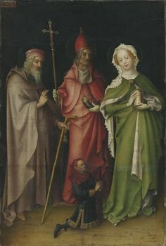 Altar wing/Flügel des Weltgerichtsaltares: St Anthony/Hll. Antonius, Pope Cornelius/Papst Cornelius and Mary Magdalen/Maria Magdalena with a patron/mit einem Stifter, c.1440/50, Stefan Lochner; the saints are shown with their symbolic attributes: St Anthony the Great: a bell and tau-cross staff; Pope Cornelius: a cow horn and papal tiara; Mary Madgalen: an ointment pot. (Alte Pinakothek)