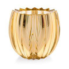 AIMO OKKOLIN - A crystal vase for Riihimäen Lasi Oy, Finland. - Cerium-yellow cut glass. [h. 17,5 cm, Ø 19 cm]