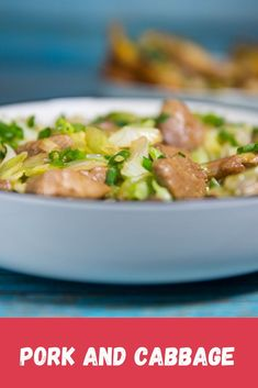 PORK AND CABBAGE recipes. Spread a very little amount of oil in wok and fry the pork until cured and browned. Transfer to a plate or bowl. Diced Pork Recipes, Easy Dinner Recipes Pork, Pulled Pork Recipes, Stir Fry Recipes, Cooking Recipes, Pork And Cabbage Recipe, Sweet And Sour Cabbage, Fried Cabbage Recipes, Cabbage Stir Fry