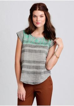Isla Marina Striped Top from shopruche.com. Beautifully crafted in soft cotton, this lightweight gray top features a white striped print and a rounded hem. Accented with an embroidered, cross-stitch design in a vibrant mint hue and button closures partially down the back, this charming blouse can be paired with denim jeans and brown ankle boots for a rustic-inspired ensemble. Semi-sheer. #grey #mint