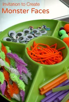 Gather loose parts and invited kids to make their own monster art faces. Creative fun for Halloween, a monster theme, or anytime!