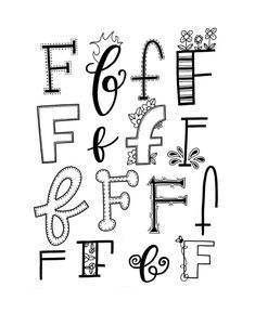Handlettering - Letter F Doodle Fonts, Doodle Lettering, Creative Lettering, Lettering Styles, Brush Lettering, Hand Lettering Alphabet, Calligraphy Letters, Caligraphy, Letras Cool