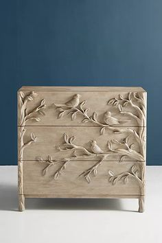 Handcarved Ornithology Three-Drawer Dresser | Anthropologie