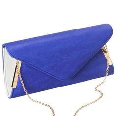 BMC Womens Blue PU Leather Envelope Flap Metal White Accent Clutch Handbag - Walmart.com $19