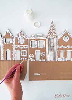 How to make a ginger house decor with recycled cardboard - ohoh deco . - How to make a ginger house decor with recycled cardboard – ohoh deco - Christmas Crafts To Make, Christmas Art, Simple Christmas, Holiday Crafts, Christmas Gifts, Christmas Ornaments, Christmas Houses, Christmas Fireplace, Faux Fireplace