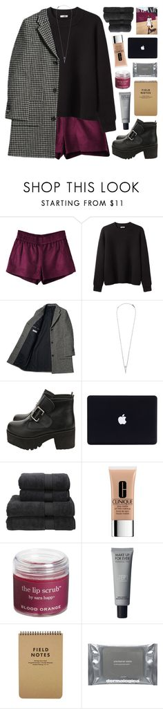 """""""CITY COAT: Elegant x Edgy"""" by emmas-fashion-diary ❤ liked on Polyvore featuring Acne Studios, Eva Fehren, Christy, Clinique, Sara Happ and Dermalogica"""